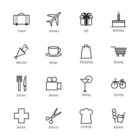 overseas: Iconos vida diaria. Ilustraci�n vectorial Vectores