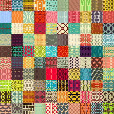 100 in 1 of Retro vector seamless patterns. Endless texture can be used for wallpaper, pattern fills, web page background, surface textures. Vector