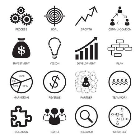 foda: Iconos del concepto de estrategia. Ilustración vectorial