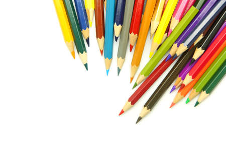 colored pencil: Colored pencils isolated on white background
