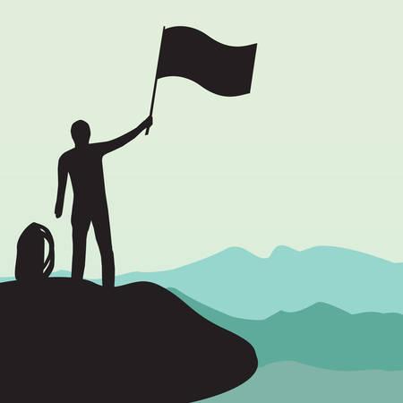 высокогорный: Силуэт человека с флагом на верхней высокой горе Иллюстрация