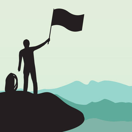 Silhouette of man with flag on top the high mountain