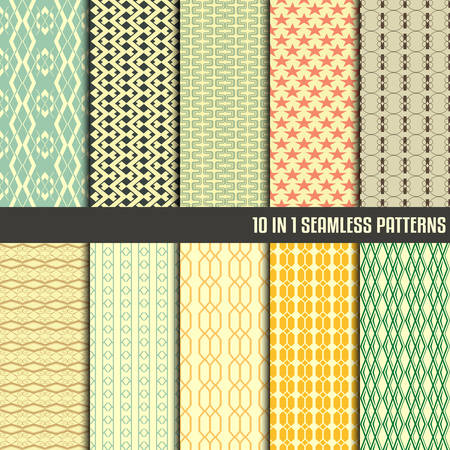 10 in 1 collection of seamless patterns for making seamless wallpapers Vector