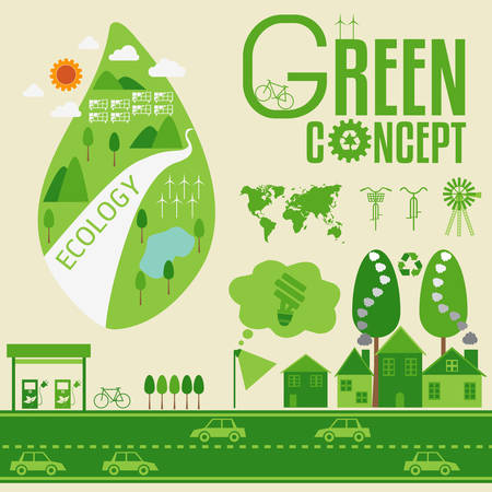 Ecology Infographic and green concept Vector