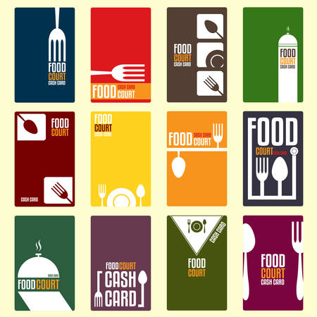 food court: Food court cash card. Menu card. Vector illustration Illustration