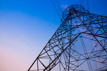 electrical tower: High voltage post and sky in twilight time Stock Photo