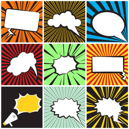 Comic Speech on striped background Vector