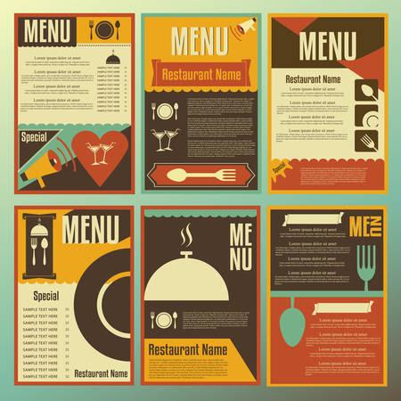 Restaurant menu designs. Collection of retro-style vector illustrations.