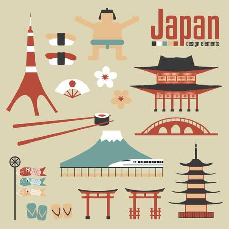 Japan design elements Illustration