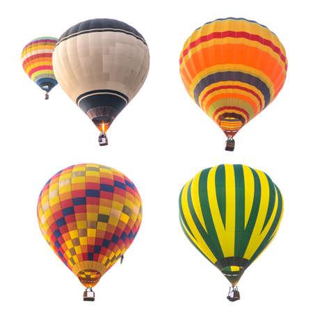 calor: coloridos globos de aire caliente aisladas sobre fondo blanco