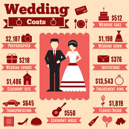 Wedding cost infographic Vector
