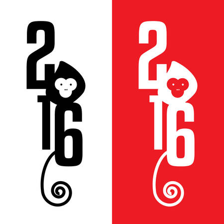 chinese new year decoration: Chinese calendar for the year of monkey 2016