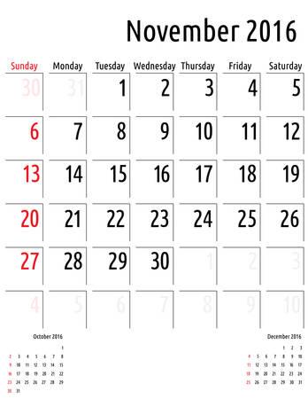 scheduler: Calendar November 2016. vector planning calendar template Illustration