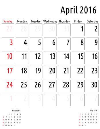 4월: Calendar April 2016. vector planning calendar template