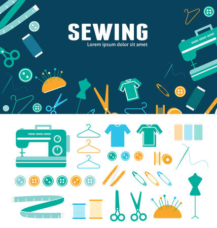 Sewing. Vector flat background and objects illustrations