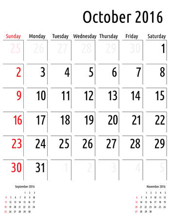 calendar october: Calendar October 2016. vector planning calendar template