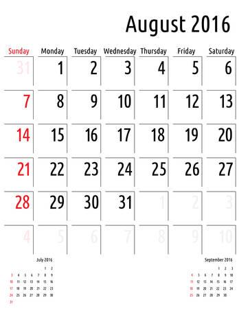 planificacion: Calendario agosto 2016. vector plantilla calendario de planificaci�n