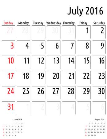 planificacion: Calendario julio 2016 vector plantilla calendario de planificaci�n Vectores