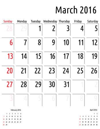 planning calendar: Calendar March 2016. vector planning calendar template Illustration