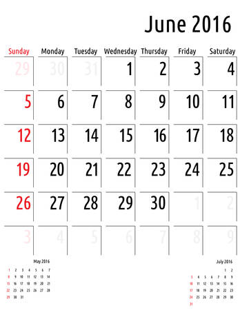 planning calendar: Calendar June 2016. vector planning calendar template Illustration