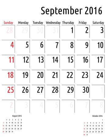 planning calendar: Calendar September 2016. vector planning calendar template Illustration