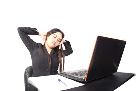 oneself: Asian businesswoman stretch oneself in office Stock Photo