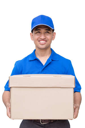 order delivery: Delivery man holding a parcel box