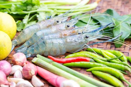 Fresh shrimp and fresh ingredients for tom yum gung