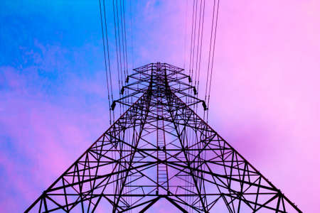 electric power: High voltage post in the evening