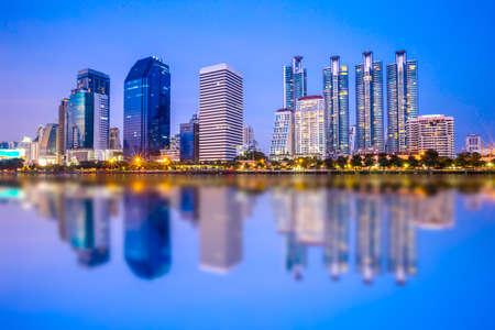 benjakitti: Bangkok city with reflection of skyline, Bangkok,Thailand Stock Photo