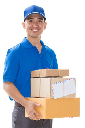 deliveryman: Delivery man holding a parcel box
