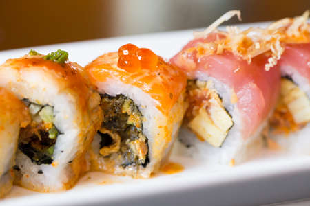 sushi: Salmon sushi roll Stock Photo