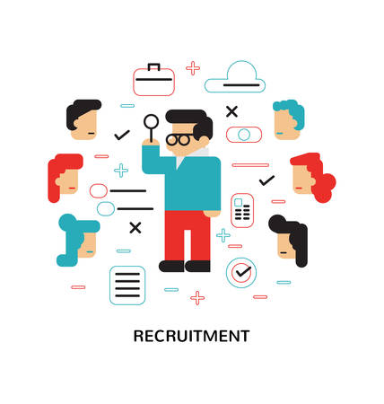 recruitment icon: Recruitment, Hiring, The choice of the best suited employee, Flat design, Modern illustration concept
