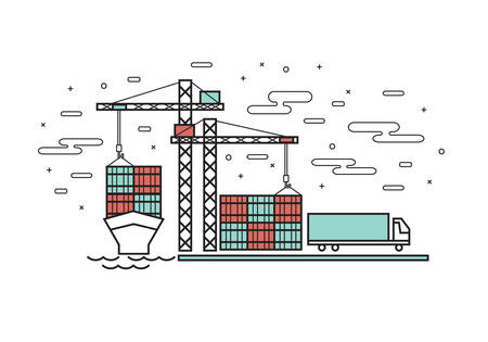 to unload: Thin line flat design for container ship, Industrial port, Container Terminal, Truck transport container