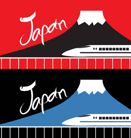 high speed: Japan mountain and high speed rail Illustration
