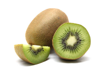 Kiwi fruit and kiwi sliced segments on white background