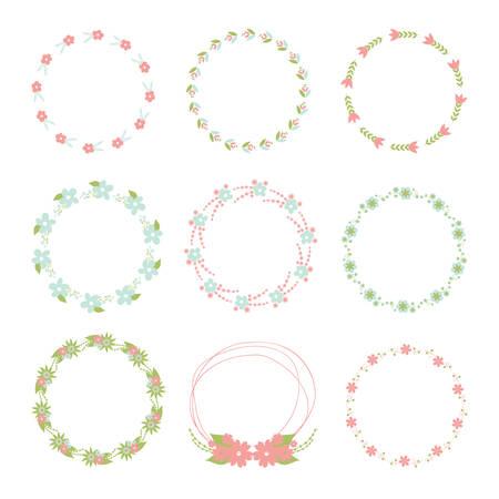 Bloem frame collectie. De reeks leuke retro bloemen schikte een vorm van de kroon voor huwelijksuitnodigingen of verjaardagskaarten