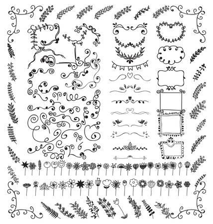 Doodles border and doodles flower Illustration