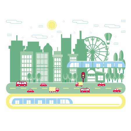 modern train: Cityscape background. Urban landscape. Downtown with skyscrapers, traffic and railway. Vector flat illustration. Illustration