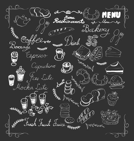 Menu coffee and bakery doodle