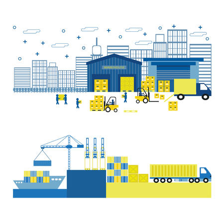 container port: Cargo port equipment. Shipping. Flat vector illustration