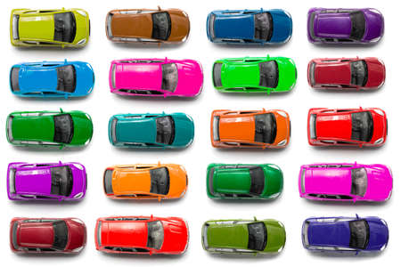 car model: top view on colorful car toys