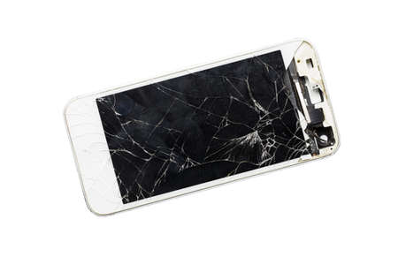 Modern mobile smartphone with broken screen isolated on white background Foto de archivo