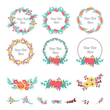Bloem frame collectie. Set van schattige bloemen gerangschikt een vorm van de krans voor huwelijksuitnodigingen of verjaardagskaarten Vector Illustratie