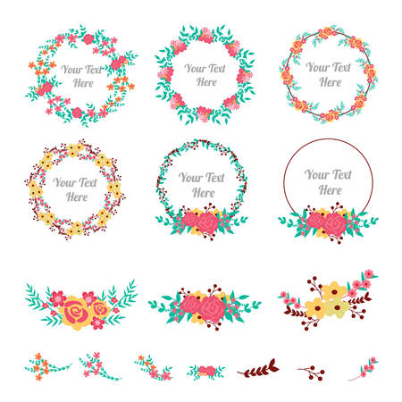 Bloem frame collectie. Set van schattige bloemen gerangschikt een vorm van de krans voor huwelijksuitnodigingen of verjaardagskaarten