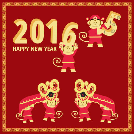 lion dance: Chinese New Year of the Monkey 2016 for greeting card