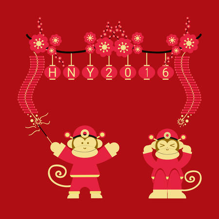 squib: Chinese 2016 New Year of the Monkey for greeting card