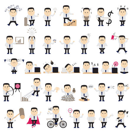 sad cartoon: Businessman in various poses