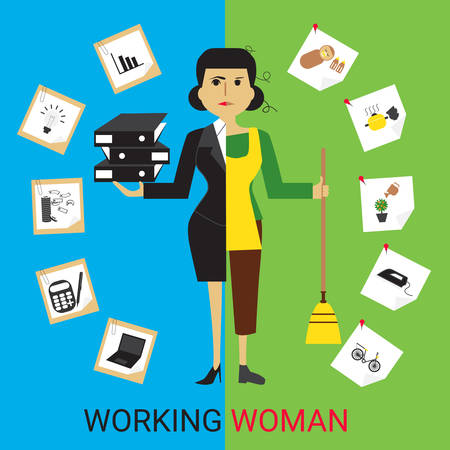 multitask: Concept of working women. Housewife and businesswoman Illustration