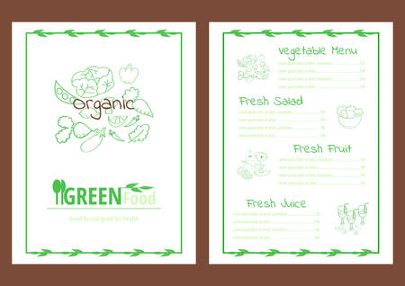 Healthy vegetable menu template green outlines on white background